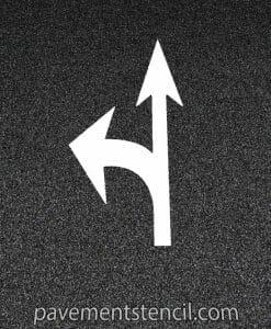DOT combination arrow stencil on pavement