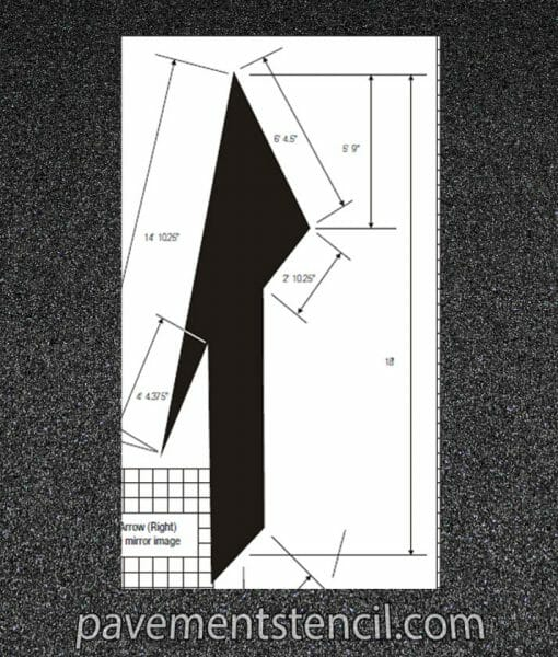 DOT drop lane or merge arrow stencil dimensions