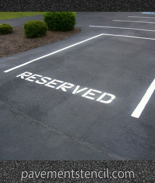 Reserved parking lot stencil