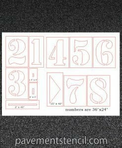 Running track stencil dimensions
